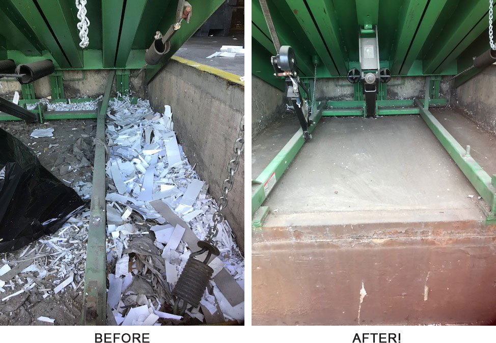 Before and after pics of a cleaned out dock leveler pit - Preventative Maintenance Plans in Dallas TX