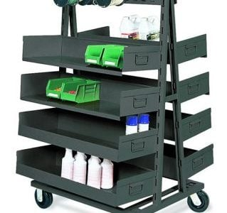 Double Side A Frame Cart with Trays and Spindles